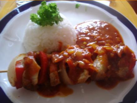 Schweinefiletschaschlik mit Reis und selbstgemachter Currysauce - Rezept