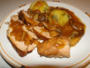 Schinkenschweinebraten in Weissweinsauce mit Zwiebeln und Rosenkohl - Rezept