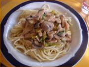 Spaghetti mit Hähnchenbrustfilet-Champignonsauce - Rezept