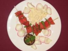 Wassermelone mal anders - mit Schafskäse und Walnuss-Honig-Dip - Rezept