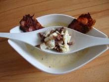 Blauschimmel - Käsesüppchen mit Anchovis, Bacon und Röstbrot - Rezept