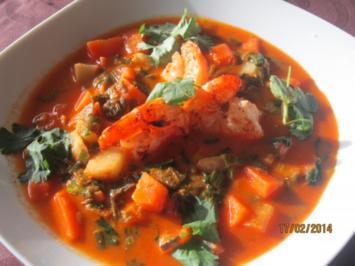Rezept: Kokossuppe mit Garnelen