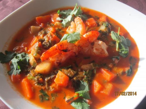 Kokossuppe mit Garnelen - Rezept