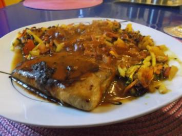 Fisch: Wasabi-Lachs mit Ofengemüse - Rezept