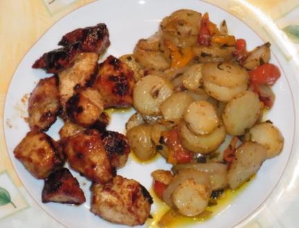 """Kartoffeln mit Süß Mariniertem Hähnchen """"Amazonas Art"""" - Rezept"""