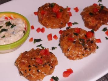 Fingerfood: Kichererbsen-Paprika-Plätzchen mit einem Curry-Mango-Dip - Rezept