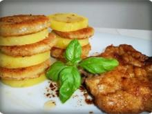 Zwiebel – Kartoffelscheiben mit Schweinekoteletts. - Rezept