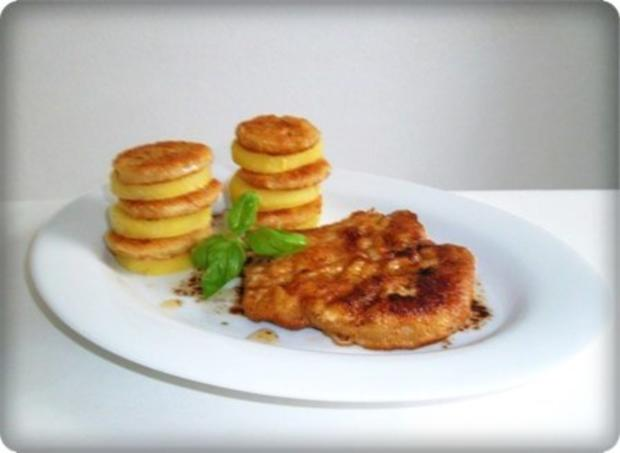 Zwiebel – Kartoffelscheiben mit Schweinekoteletts. - Rezept - Bild Nr. 23