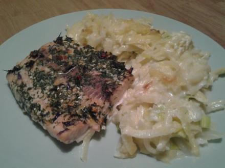Lachs auf Kartoffel- Porree- Bett - Rezept