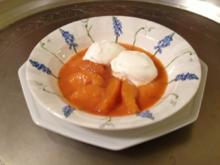 Sauerrahmeis mit Karamell-Orangen - Rezept