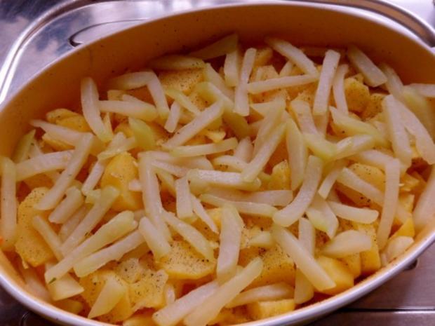 Aufläufe/Gratins: Kohlrabi-Kartoffel-Auflauf mit Käse-Hackbällchen - Rezept - Bild Nr. 13