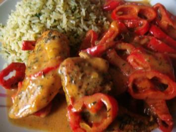 Rezept: marinierte Hähnchenfilet   mit  Paprikagemüse