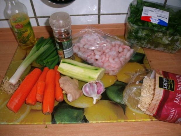 bunte Gemüsepfanne mit Mie-Nudeln und Garnelen - Rezept - Bild Nr. 3