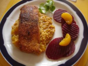Lachsfilet mit roten Linsen und rote Bete - Rezept