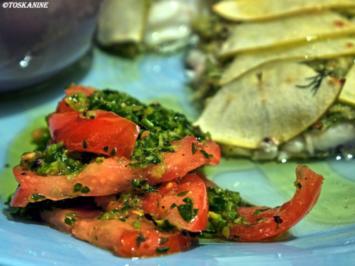 Skrei unter Apfel-Fenchel-Haube mit Gremolata-Tomaten - Rezept