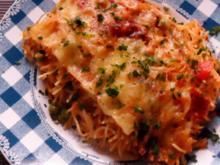 Ofengerichte: Spaghetti-Auflauf mit zweierlei Käse, Cabanossi und Erbsen - Rezept