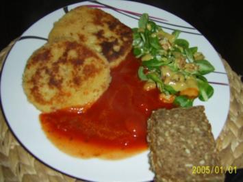 Ohne Fleisch: Gemüse-Schnitzel mit Tomatensauce und frischen Feldsalat...... - Rezept