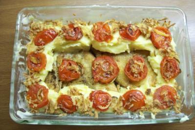 Schollenfilet im Kartoffelbrei-Tomaten-Senfsahne-Nest - Rezept