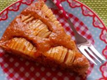 Kuchen: Apfel-Mandel-Kuchen mit Aprikosenglasur - Rezept