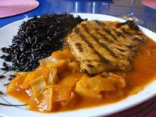 Geflügel: Pikantes Schnitzel mit schwarzen thailändischen Klebreis - Rezept