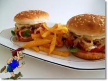 Hausgemachte Hamburger mit Pommes (ړײ) - Rezept