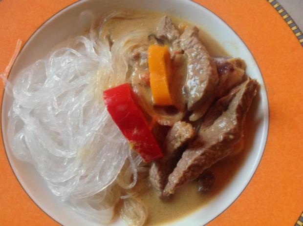Steak mit grünem Curry und  Kokosnussmilch - Rezept
