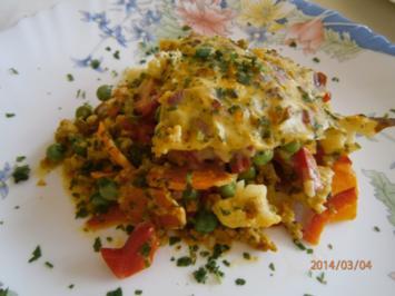 Auflauf mit Hackfleisch, Gemüse, und Schmelzkäse - Rezept