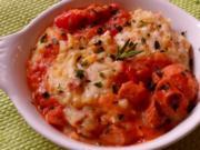 Auflauf/Gratin: Mediterranes Wurstgulasch überbacken mit Parmesan-Kartoffelpüree - Rezept