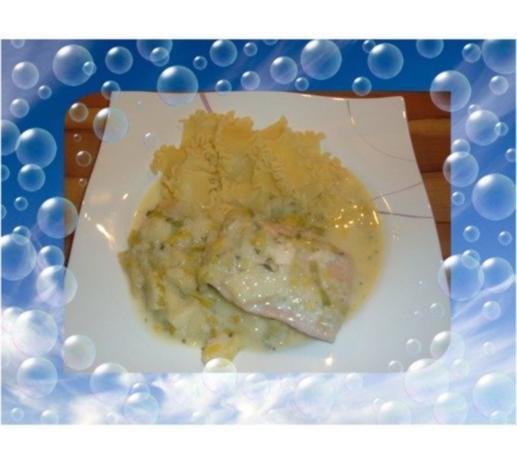 Fisch . Lachs mit Porree - Apfel - Gemüse - Rezept