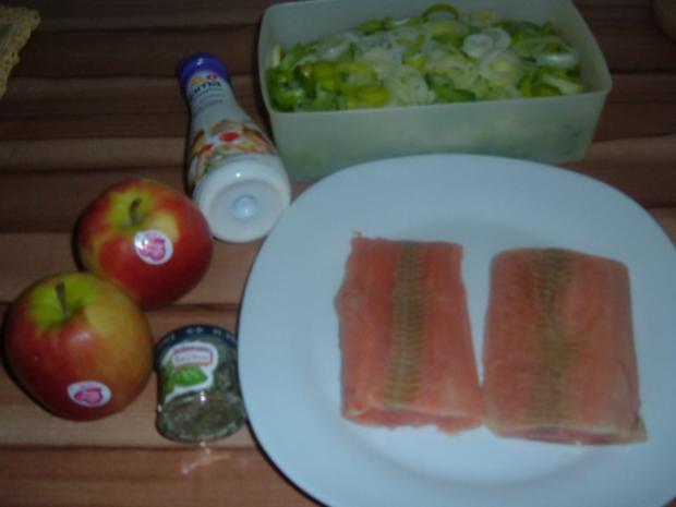 Fisch . Lachs mit Porree - Apfel - Gemüse - Rezept - Bild Nr. 3