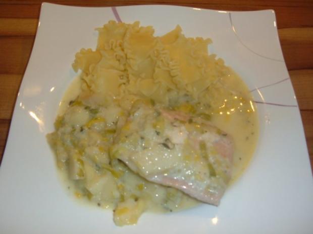 Fisch . Lachs mit Porree - Apfel - Gemüse - Rezept - Bild Nr. 2