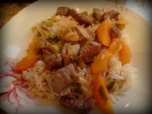 Pfirsich-Steak-Reis-Pfanne - Rezept