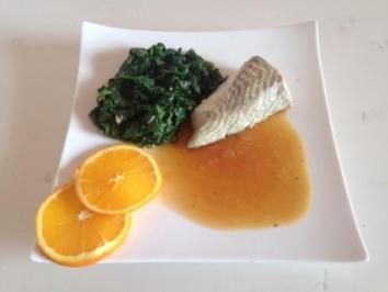Seelachs mit Zitrus-Malzsoße und Spinat - Rezept