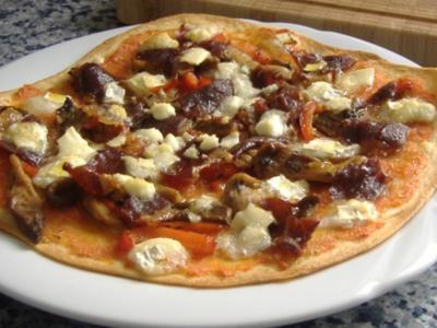 Spanische Pizza mit Austerpilze,Paprika,Ziegenkäse und Iberico Schinken - Rezept