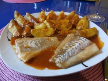 Rezept: Fisch: Pikanter Kabeljau mit Chakalaka-Kartoffelspalten