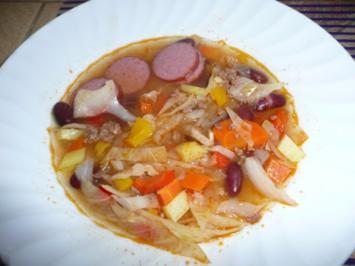 Hackfleisch - Suppe : mit Kraut, Cabanossi && - Rezept