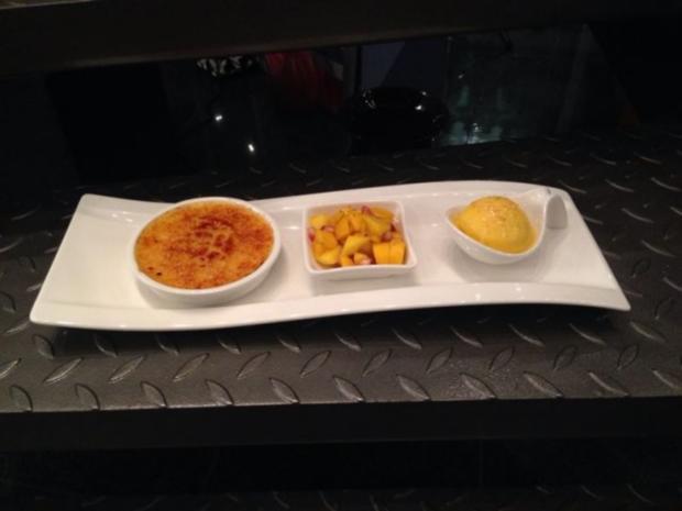 Mango-Sorbet mit Lavendel-Creme-Brulee - Rezept