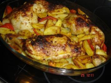Hähnchen mit Kartoffelspalten - Rezept