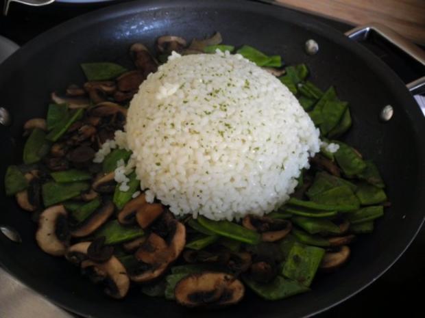 Vegan : Reis - Champignon - Pfanne mit Zuckerschoten - Rezept - Bild Nr. 9