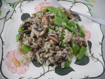Rezept: Vegan : Reis - Champignon - Pfanne mit Zuckerschoten