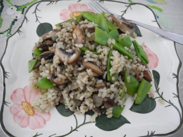 Vegan : Reis - Champignon - Pfanne mit Zuckerschoten - Rezept