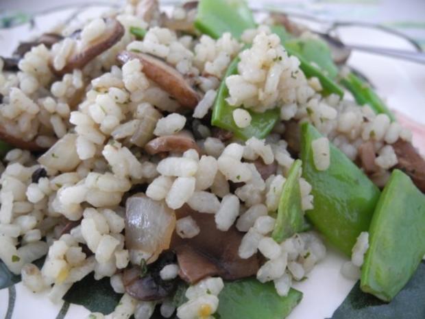 Vegan : Reis - Champignon - Pfanne mit Zuckerschoten - Rezept - Bild Nr. 2