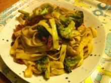 Tagliatelle mit Brokkoli und Pilzen - Rezept