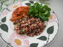 Vegan : Rot - Weiss - Reis an Paprika - Gulasch mit Feldsalat - Rezept