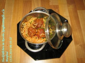 Fleisch – Hackbällchen im Rucola-Spaghettitöpfle a'la Manfred - Rezept