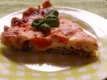 Tarte/Quiche: Balsamico-Zwiebel-Tarte mit Ziegenkäse und Tomaten - Rezept