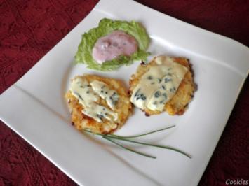 Birnen - Ingwer - Rösti, überbacken mit Edelpilzkäse und Preiselbeer - Joghurt - Dip ... - Rezept