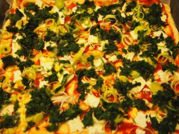 Spinat- Feta- Pizza - Rezept