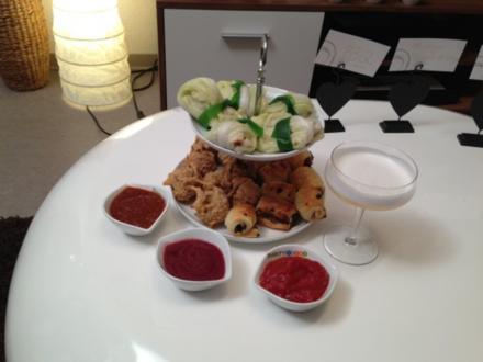 Mini-Hackfleischröllchen Shiitake-Käse-Röllchen, Kabeljau-Miesmuschel-Klöschen - Rezept