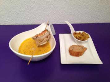 Apfel-Curry Suppe mit Gamba, dazu Malzbierbrot mit Dattelaufstrich - Rezept
